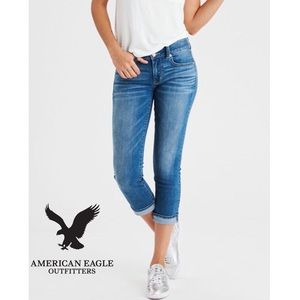 AEO Stretch Artist Crop Jeans Dark Wash Size 4